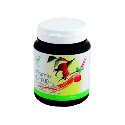 Vitamina C 1000 mg cu macese si acerola grapefruit