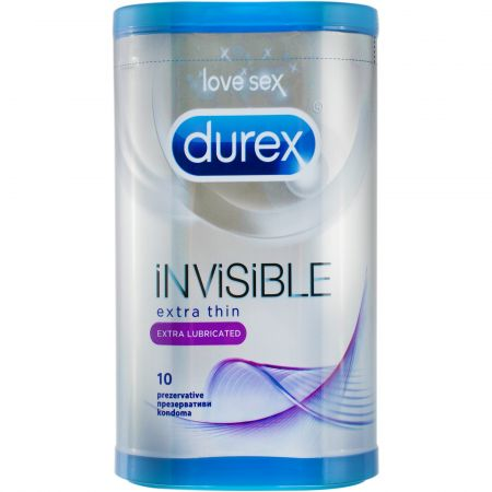 Durex Invisible Extra thin Extra lubricated 10 bucati